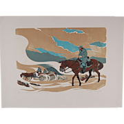 "Western L/E Print ""Crossing the Playa"" African-American Buffalo Soldiers"