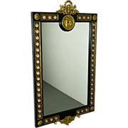 French Style Wall Mirror w Hand Painted Porcelain Ormolu Cherub Mounts