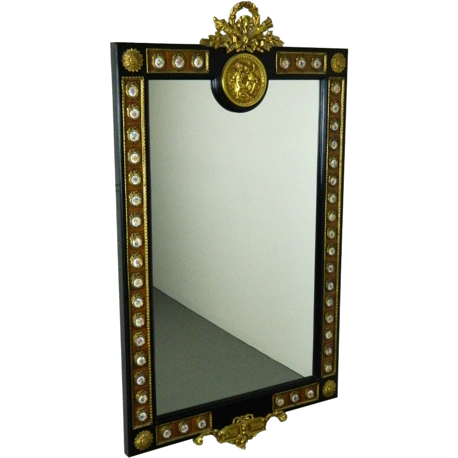 Arts and crafts mirrors - French Style Wall Mirror W Hand Painted Porcelain Ormolu Cherub Mounts