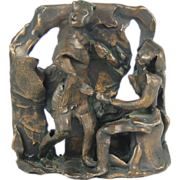 Affaire de Coeur Small Mid-century Abstracted Brutalist Bronze Sculpture Lovers