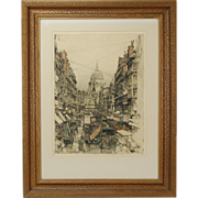 Fleet Street London 1930's Urban Cityscape Etching Luigi Kasimir
