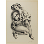 "Circa 1960 Hans Erni L/E Lithograph ""Maternity"" Nude Mother & Child signed"