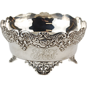 Whiting Rococo Sterling Silver Footed Bowl Ornate C-Scroll Floral Decoration
