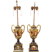 Fine Pair 19th Century Royal Vienna Urns Mounted as Lamps