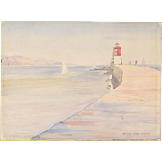 "1945 Watercolor ""Entrance to Dublin Harbor"" Watercolor Painting Matthew Barry"