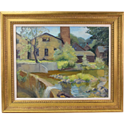 Wisconsin Impressionist Oil Painting River Dam Stone Buildings signed Sharpe