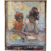 Mid-Century Abstract Oil Painting Brother & Sister Doing Homework by Francesc Suner