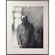 "Haunting Portrait Charcoal Drawing ""The Institution 3""  Fishbein Chicago Artist"