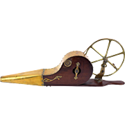 Antique Steampunk Belt Driven Mechanical Bellows Brass Mahogany Circa 1880