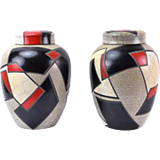 Pair Large Studio Pottery Raku Ginger Jars White Black & Red Geometric Designs