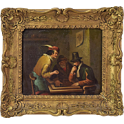 19th Century Painting on Tin Three Men Playing Board Game in a Tavern
