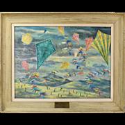 Vintage Mid-Century Modern Oil Painting Kite Festival by Robert J. Lee