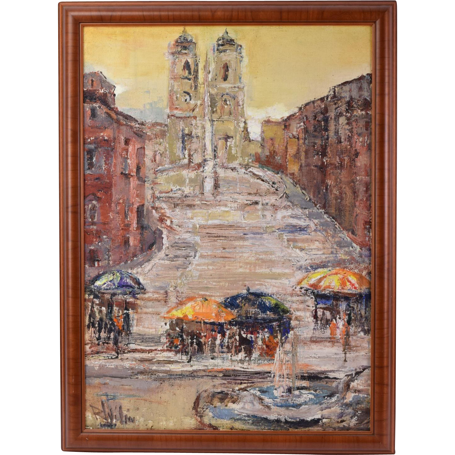 Mid Century Oil Painting Spanish Plaza By Russian Artist