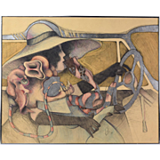 Jim Pink Surrealist Multi-Media Painting Woman Driving with Bizarre Creature