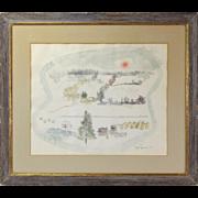 "1952 Joe Jones Watercolor painting ""Winterscape #1"""