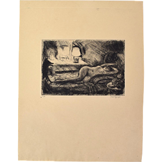 Early 20th Century Etching Reclining Nude w Dog at Foot of Bed sgnd Henri Farge