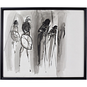 Ink Wash Painting Abstract Masai Warriors Frederick Jones Chicago African American
