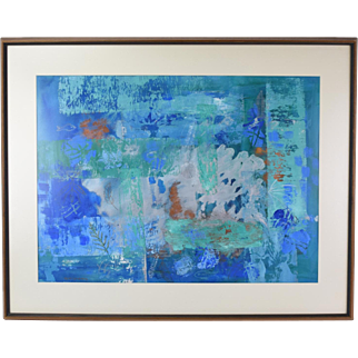 """Mid-Century Abstract Painting """"Study with Fossil""""  Ruby Churchill Ann Arbor Artist"""