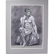 Whimsical Original Pastel Drawing Portrait Rubenesque Nude w Knees Against Glass