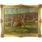 Antique Oil Painting Pastoral Landscape with Cows Grazing sgnd J L Adams