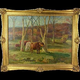 Antique Oil Painting Pastoral Landscape with Cows Grazing sgnd J L Adams