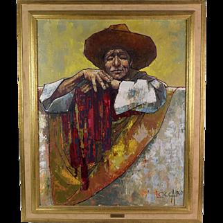 1960 Mid-Century Bernard Locca Oil Painting Portrait of Mexican Man
