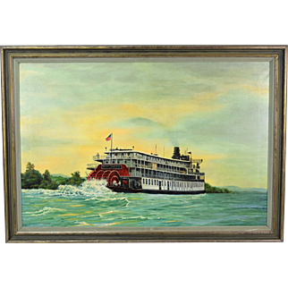 Vintage Delta Queen Mississippi River Sternwheel Steamboat Oil Painting
