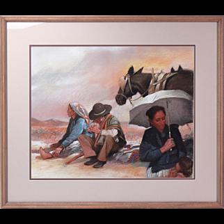 Clifford Beck Native American Original Pastel Portrait Navajo Art