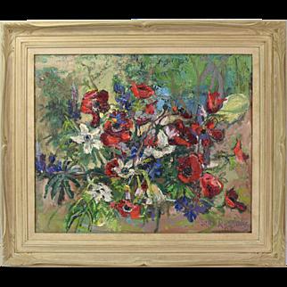 Mid-Century Impressionist Floral Still Life Oil Painting Sala Russota Israeli Woman Artist