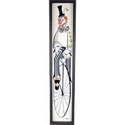 Mid-Century Modern Handpainted Ceramic Tile Clown Riding Velocipede Bike