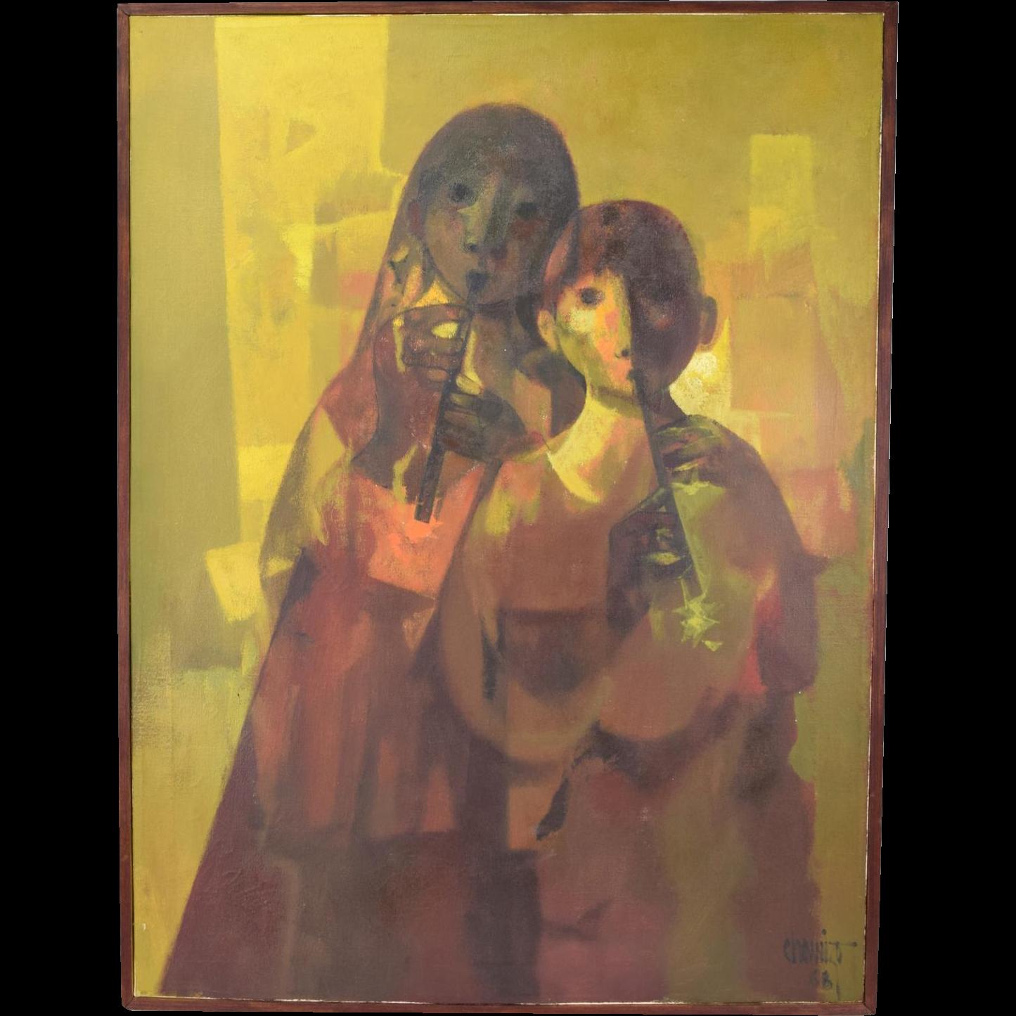 Mid-Century Juan Chamizo Mid-Century Oil Painting Boy & Girl Musicians Flutists