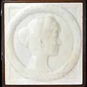 Circa 1900 Erwin Kurz Carved Alabaster Bas-Relief Beautiful Young Woman