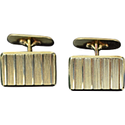 Vintage Modern Pair 14k Solid Gold Cufflinks Geometric Pattern