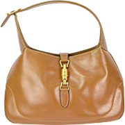 Vintage 1970's Gucci Jackie O Handbag w Cylinder Closure Caramel Brown