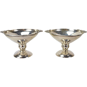 Pair Mid-Century Danish Style Compotes Candy Bowl Heavy Gauge Sterling Silver