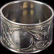 Vintage Sterling Silver Napkin Ring Gorham Floral Art Nouveau Pattern B2600