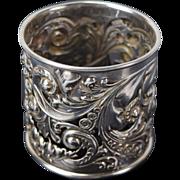 Vintage Sterling Silver Napkin Ring Gorham Art Nouveau Floral Pattern 2155
