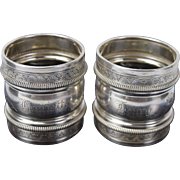 Pair 1881 Antique Gorham Aesthetic Movement Sterling Silver Napkin Rings