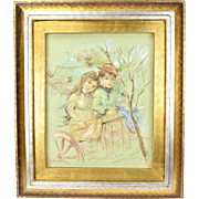 Mid-Century Oil Painting Young Couple at Circus by Vitti Giovanni