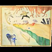 Vintage 1970 Joe Kotzman Surrealist Dream Watercolor Painting Chicago artist