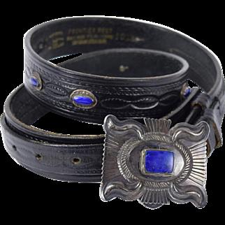 Eugene Charley Native American Navajo Sterling Silver Lapis Lazuli Buckle & Belt