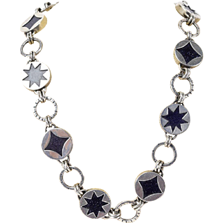 Jodi Rae (Brownstein) Sterling Silver Druzy & Cut Shapes Reversible Necklace