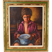 Vintage Oil Painting Portrait of Crying Hungry Little Boy with Empty Bowl