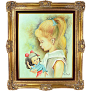 Vintage Oil Painting Portrait Profile of Young Blonde Girl with Doll