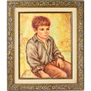 Vintage Oil Painting Portrait of Seated Little Boy with Open Shirt
