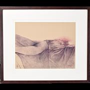 1970's L/E Lithograph Reclining Nude sgned Bruno Bruni Italian