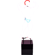 Vintage Muscle Man Body Builder Neon Light Sculpture