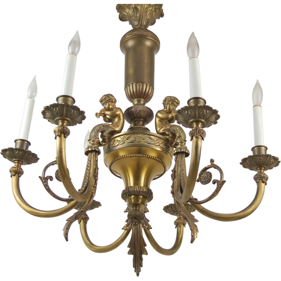 Vintage romantic french style brass musical cherub putti chandelier vintage romantic french style brass musical cherub putti chandelier colin reed art antiques ruby lane arubaitofo Gallery