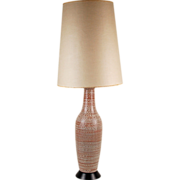 Mid-century Modern White Slip Decorated Earthenware Pottery Table Lamp