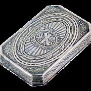 Antique 19thC German Engraved Silver Snuff Box Johann Kurz Hanau c.1880